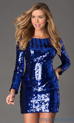 Short Sequin Long Sleeve Dress at SimplyDresses.com