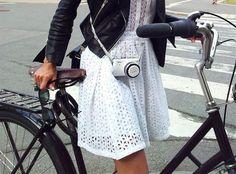 white eyelet dress  black leather jacket