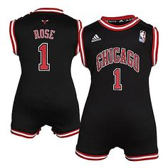 Chicago Bulls Infant Derrick Rose Black Jersey Onesie