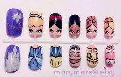 disney style, princess nail, nailart, disney princesses, disney nails, nail arts, tinker bell, pocahonta, snow white