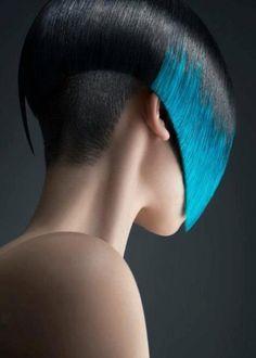 creativ color, stun blue, black bob, blue highlight, short hairstyles