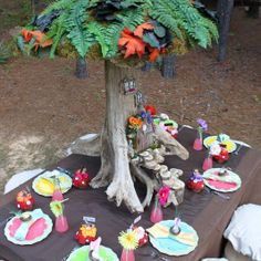 enchanted woodland party--love the tree and the little steps