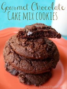 You won't be grabbing a container of cookies at the grocery store bakery anymore! These Gourmet Chocolate Cake Mix Cookies come together so quickly and start with a mix you probably already have in your pantry! Get your glass of milk ready!
