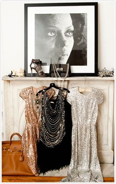 // fashion, style, closets, sequins, sparkly dresses, diana ross, mantl, glitter, parti