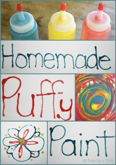 No cook homemade puffy paint recipe using three items you most likely have in your pantry! craft, writing practice, puffi paint, puffy paint, food coloring, homemad puffi, paint recipes, simpl ingredi, kid