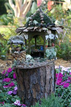 Little fairy garden on a tree stump