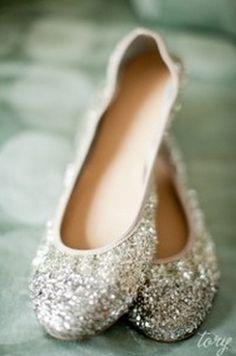 J Crew silver glitter Lula ballet flats...