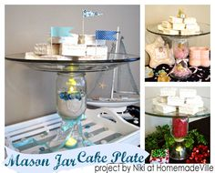 How to make a cake plate with a mason jar and personalize it to fit any party or holiday theme!