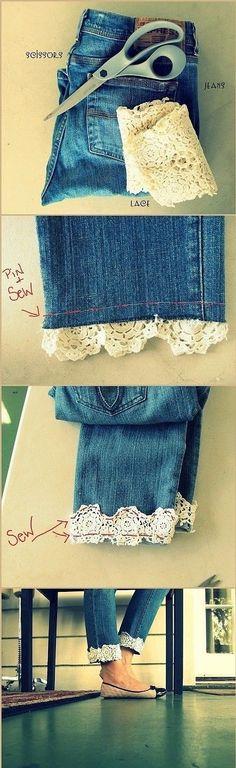 #jeans #DoItYourself #lace #cute www.twitter.com/margaretbatting