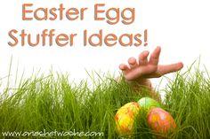Easter egg stuffer ideas (and links to lots more!) www.oneshetwoshe.com #easter