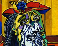 Picasso's 'The Weeping Woman' is a thematic continuation of the tragedy seen in his former painting 'Guernica'. Painted in 1937, the painting shows the suffering of the war and the long term, gripping effects it had on people's lives. However, Picasso does not directly refer to the Spanish Civil war, and so some have interpreted this painting as being representative of universal suffering.