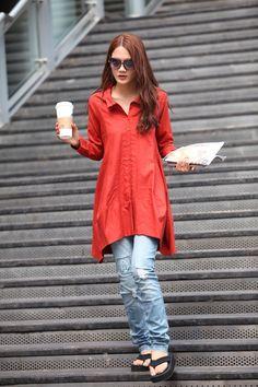 Spring Dress Long Sleeve Dress Shirt Loose Fitting Blouse Long Shirt Dress in red - NC325. $74.99, via Etsy.