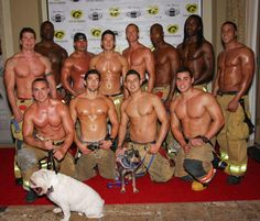 Firemen promoting a shelter to people for adopting a pet.
