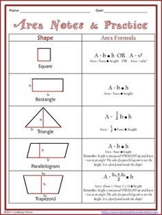 ... area of a square, rectangle, triangle, parallelogram and trapezoid