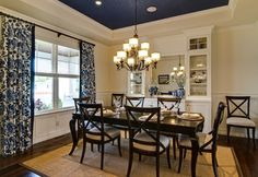 Love the color combo and the navy blue ceiling