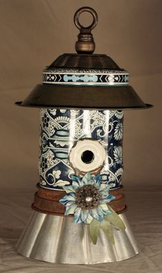 """I like the idea of using an old hanging lamp for the topper"" - Reclaimed Objects Birdhouse ""Song Sung Blue"""