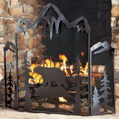Black Bear Fireplace Screen