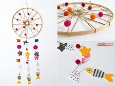 How To Make A Dream Catcher - I promised Miss7 that I would make her one, after she had an upsetting nightmare..... so with an embroidery hoop, twine and some felt scraps I sat down for a little less than an hour yesterday to keep my promise.  http://mollymoo.ie/how-to-make-a-dream-catcher/ #craftsforkids #craftsformums #felt