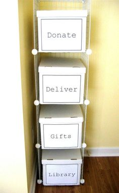 Simple and cheap cardboard boxes are great for organizing just about anything. You can start with wire storage cubes and then just add the plain white boxes, with labels, for things that you need to keep tidy. Have a box for clothes that you want to donate or you could even use this system for your recyclables. This is a great way to keep things organized without needing a lot of space or money.