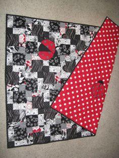 Ladybugs oversized crib quilt, black, white  red