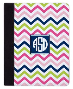 Pink Navy and Lime Chevron iPad Cover
