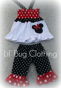 Custom Boutique Clothing Red Black White Dot Minnie Mouse Top and Capris. via Etsy.