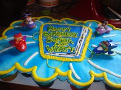 Super Why pull-apart cake for Sophia and Wyatt