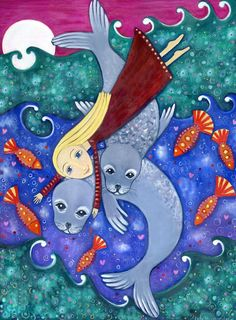 Art print Girl seals selkie whimsical folk style A4 size nursery childrens room decor  kids wall picture - 'Selkies'. $20.00, via Etsy.