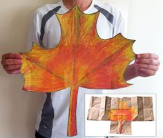 Art Projects for Kids: Giant Fall Maple Leaf from a brown paper grocery bag.