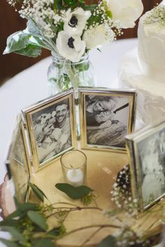 Include framed black and white photos of married couples in your family - in centerpieces, on cake table etc. Source: Kelsea Holder Phtography Weddingframes