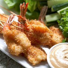 Crispy Coconut Shrimp Lettuce Wraps with Spicy Peanut dipping sauce