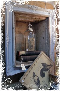 frame box, old picture frame, antique furniture ideas, shadow box, a frame, old frames, antique frame shadowbox, crate, antique display ideas