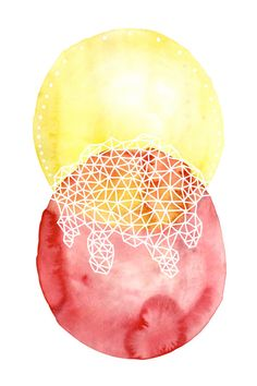 TWIN SUNS abstract watercolor art print in golden yellow and thalo red. $30.00, via Etsy.    ...BTW,Please Check this out:  http://artcaffeine.imobileappsys.com