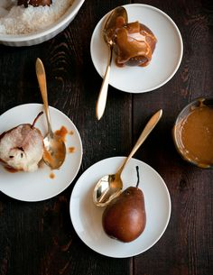 Utterly scrumptious looking Salt Roasted Pears with Cajeta (from Desserts for Breakfast). #fruit #pears #caramel #dessert #food