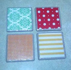 The coasters I made using tile and scrapbook paper.