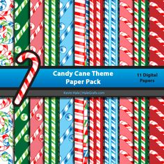 FREE Christmas Candy Cane Digital Paper Pack