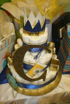 Royal Prince Baby Shower diaper cake!  See more party ideas at CatchMyParty.com