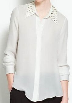 White Studded Collar Chiffon Sheer Blouse