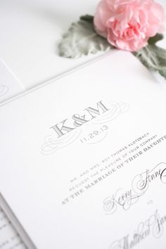 Gray monogram wedding invitations