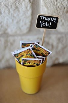 Fall Wedding Idea: Sunflower seed packets as guest favors @Lauren Prater