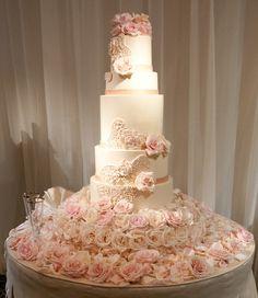 dream cake, pink roses, wedding receptions, blush weddings, romantic weddings, rose cake, cake tables, white wedding cakes, flower