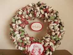A Christmas wreath made fro  Stampin'Up! DSP