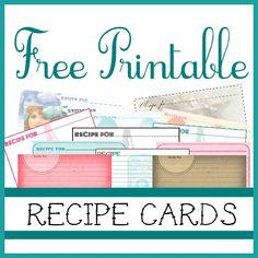 Free printable recipe cards  : - D