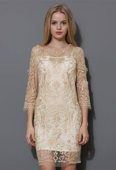 Mid-Sleeve Golden Embroidery Mesh Dress