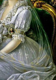 Luisa Maria Amelia Teresa of Naples and Sicily,detail, by Joseph Dorffmeister (1764–1814).