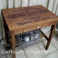 Vintage french chocolate crate table. Tabletop design was done with an overhead projector and a SHARPIE....