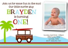 VINTAGE SURF BOY Beach or Luau Birthday Invitation, for any age. Printable with photo.