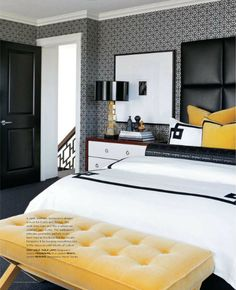 this yellow and black bedroom is rocking my world.