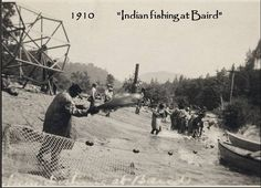 Wintun Indians traditionally fishing in 1910 near where Shasta Lake and Shasta Dam are now. Historic photograph.