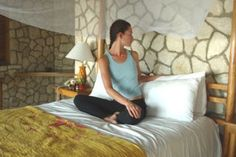Seated Twists:  Stay in your seated position and twist around to the back of your bed. If you have a backboard you can grab onto that to help your twist. Breathe into the twist for a few breaths and then try the other side.